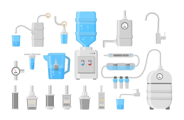 Набор различных видов фильтров для воды и систем иллюстрации. плоские значки фильтра для воды, изолированные на белом фоне. иллюстрация в плоском дизайне. Premium векторы