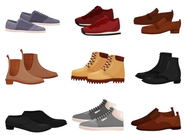 別の男性と女性の靴、サイドビューのセット。カジュアルでフォーマルなメンズシューズ。ファッションテーマ Premiumベクター