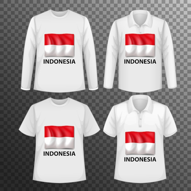 Набор различных мужских рубашек с экраном флага индонезии на изолированных рубашках Бесплатные векторы