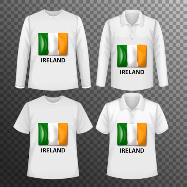 Набор различных мужских рубашек с экраном флага ирландии на изолированных рубашках Бесплатные векторы