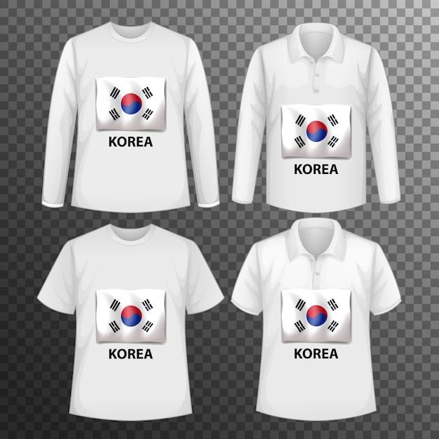 Набор различных мужских рубашек с экраном флага кореи на изолированных рубашках Бесплатные векторы