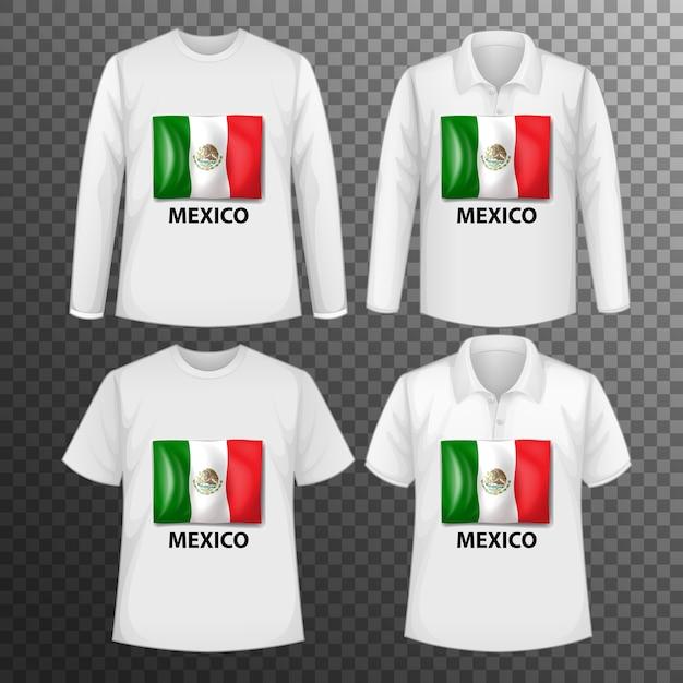 Набор различных мужских рубашек с экраном флага мексики на изолированных рубашках Бесплатные векторы