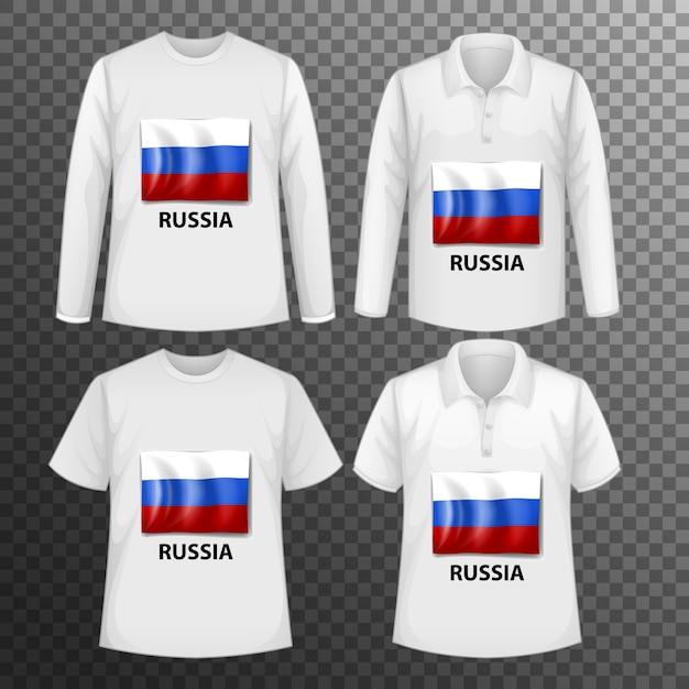 Набор различных мужских рубашек с экраном флага россии на изолированных рубашках Бесплатные векторы