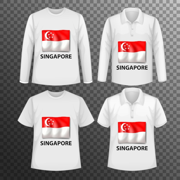 Набор различных мужских рубашек с экраном флага сингапура на изолированных рубашках Бесплатные векторы