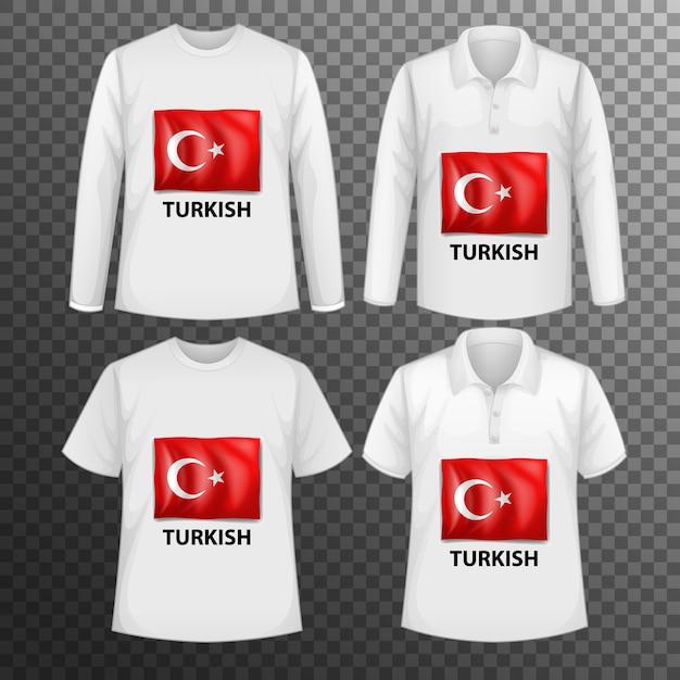 Набор различных мужских рубашек с экраном турецкого флага на изолированных рубашках Бесплатные векторы