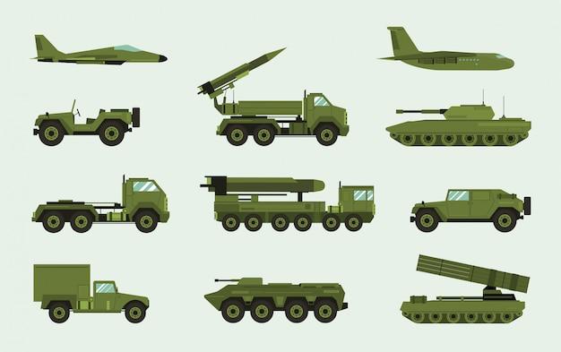 別の軍事輸送のセット。現代の機器コレクションの戦闘機、防空、車 ...