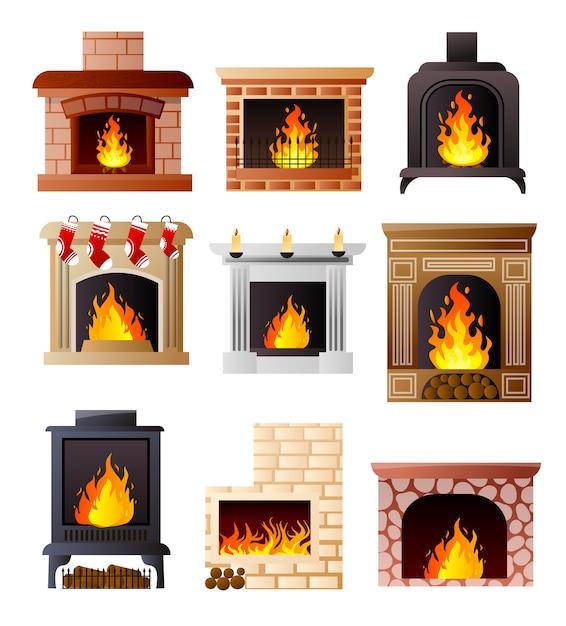 部屋の家やアパートで暖炉の異なるモデルのセット Premiumベクター