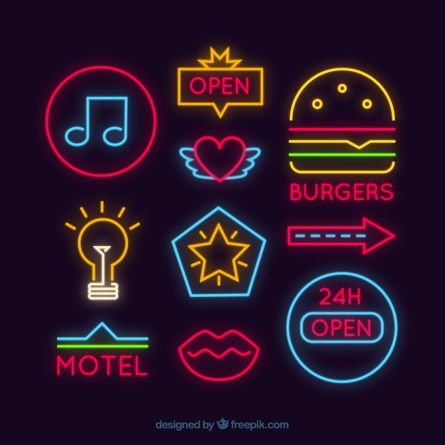 Set Of Different Neon Signages Vector Free Download