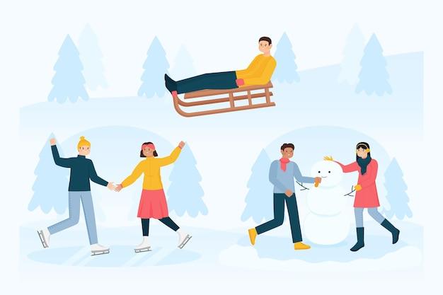 屋外の冬の活動をしているさまざまな人々のセット 無料ベクター