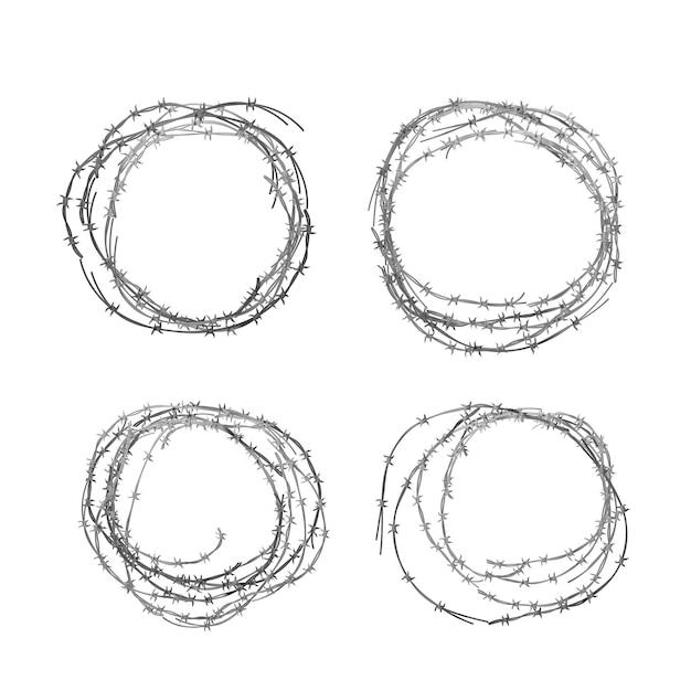 Набор различных реалистичных мотков металлической глянцевой колючей проволоки на белом Premium векторы