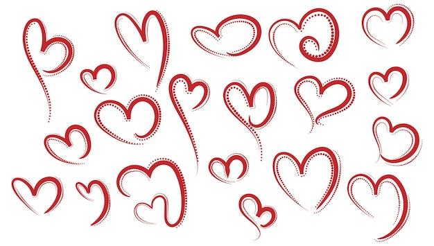 Набор эскизов различных красных сердец Бесплатные векторы