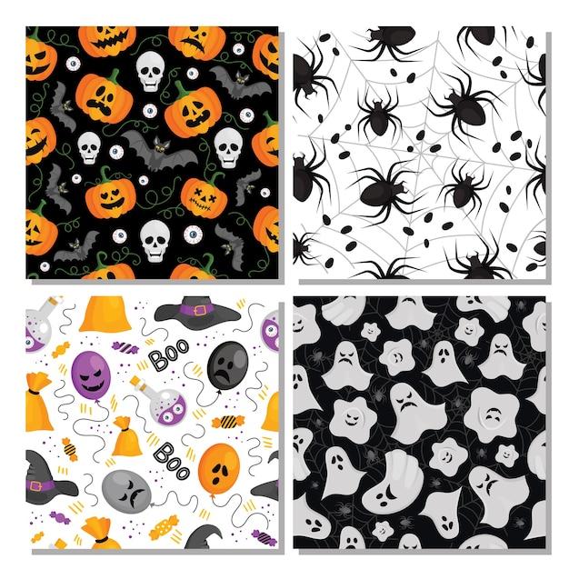 Набор различных бесшовных узоров для хэллоуина с тыквами, летучими мышами, призраками, пауками, воздушными шарами Premium векторы