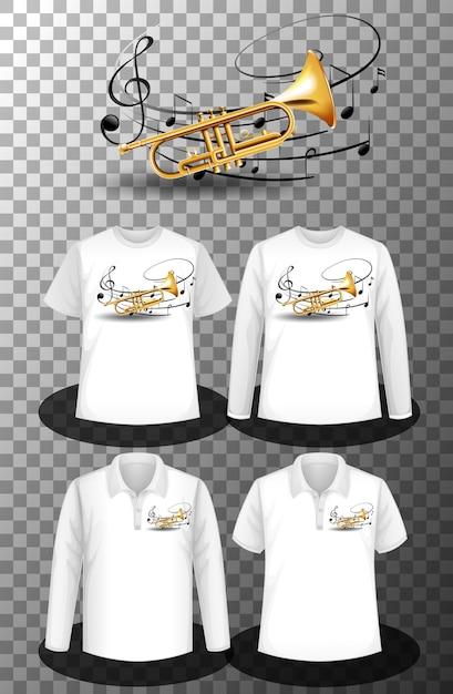 トランペットの音符と異なるシャツのセット 無料ベクター
