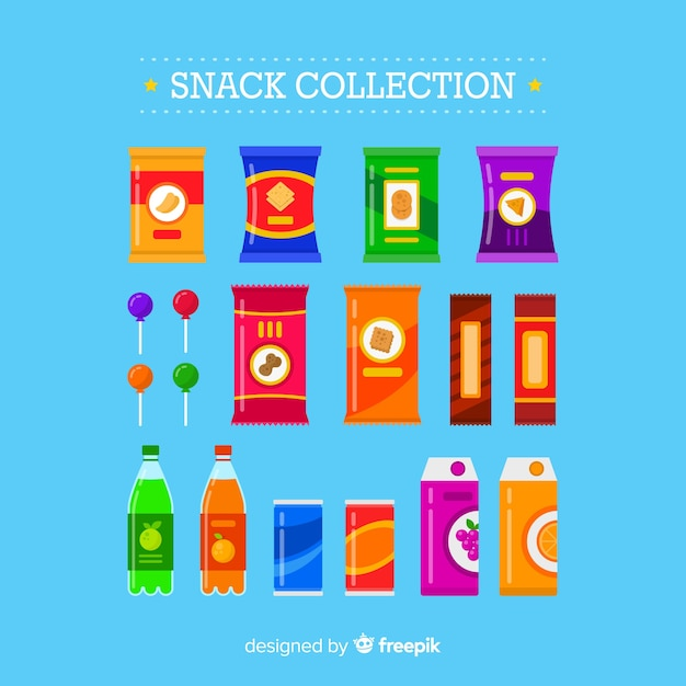 Set of different snacks Free Vector