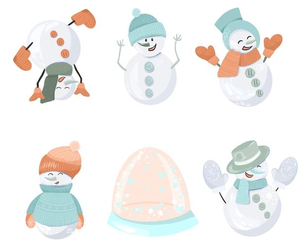 Набор разных снеговиков Premium векторы
