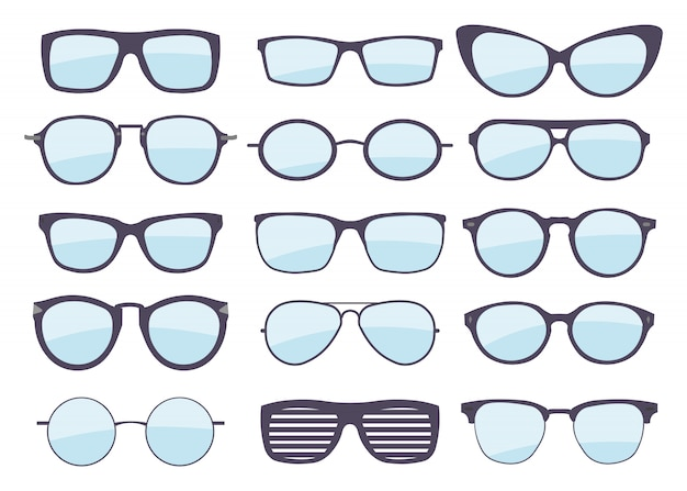 さまざまなスタイルのメガネのセット。ファッションとライフスタイル。おしゃれな眼鏡フレーム形状。 Premiumベクター