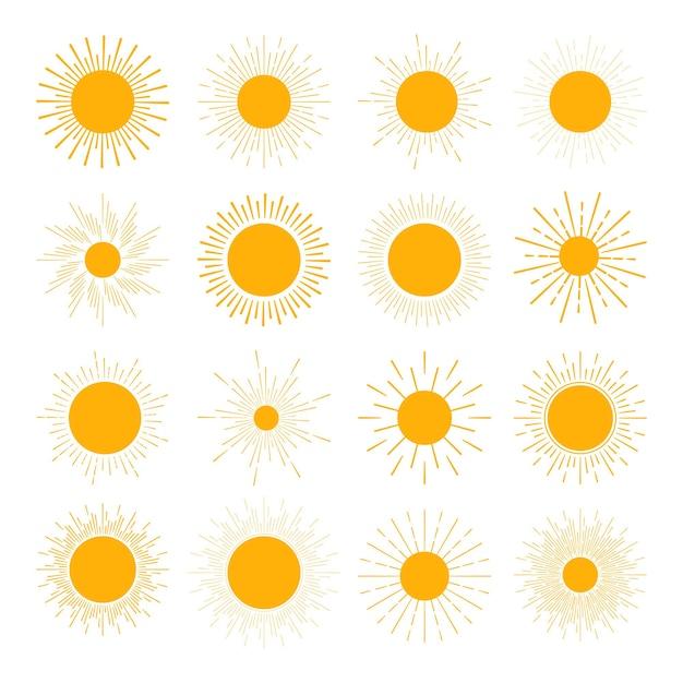 さまざまな太陽のアイコンのセット。太陽はまっすぐな光線を沈める Premiumベクター