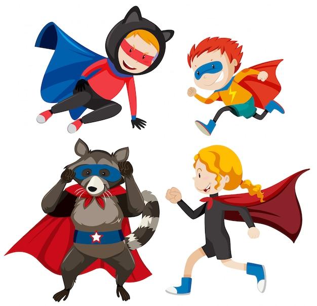 Набор разных супер героев Бесплатные векторы
