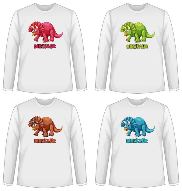 공룡과 다른 티셔츠 세트 무료 벡터
