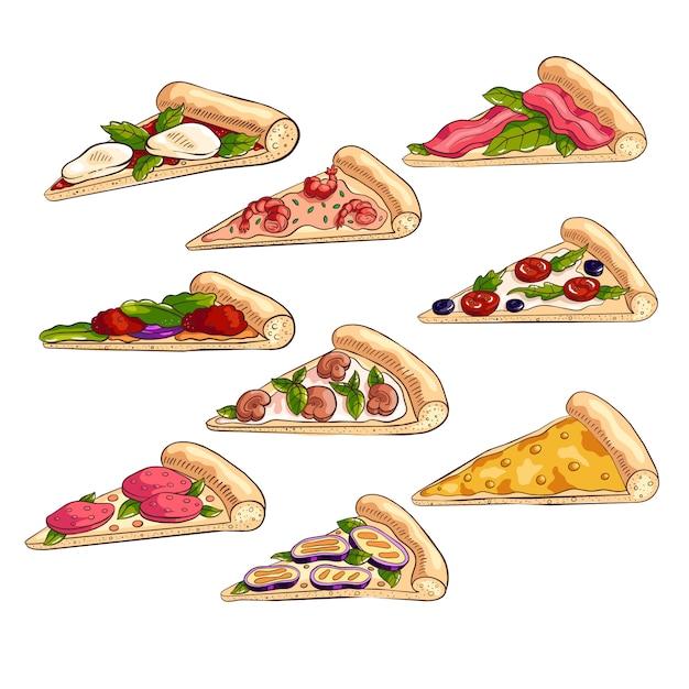 Набор различных вкусных кусочков свежей итальянской пиццы Premium векторы