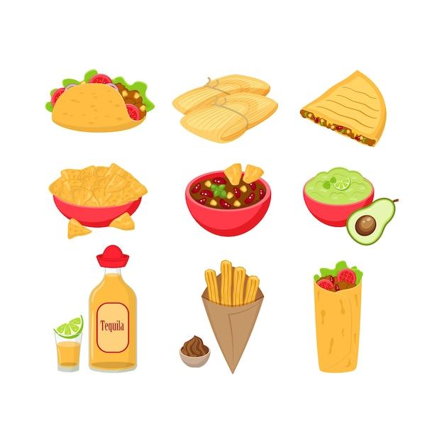 白い背景で隔離のさまざまな伝統的なメキシコ料理のイラストのセットです。タコス、タマーレ、ケサディーヤ、チリコンカーン、ワカモレ、テキーラ、チュロス、ブリトー。 Premiumベクター