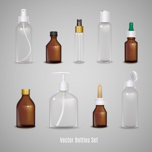 Набор различных прозрачных пустых бутылок Бесплатные векторы