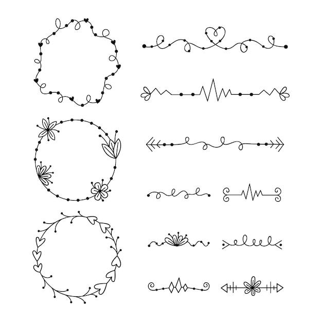 Набор различных типов рамы и разделителей Бесплатные векторы