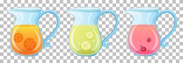 透明に分離された瓶にさまざまな種類のフルーツジュースのセット 無料ベクター