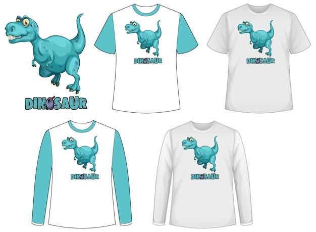 공룡 로고가있는 공룡 테마의 다양한 종류의 셔츠 세트 무료 벡터