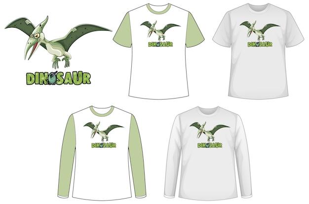 Набор различных типов рубашки в теме динозавров с логотипом динозавра Бесплатные векторы