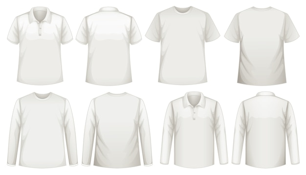 Набор разных типов рубашки одного цвета Бесплатные векторы