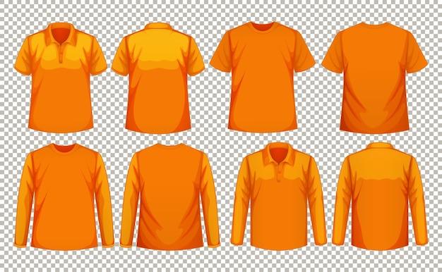 같은 색상의 다양한 종류의 셔츠 세트 무료 벡터