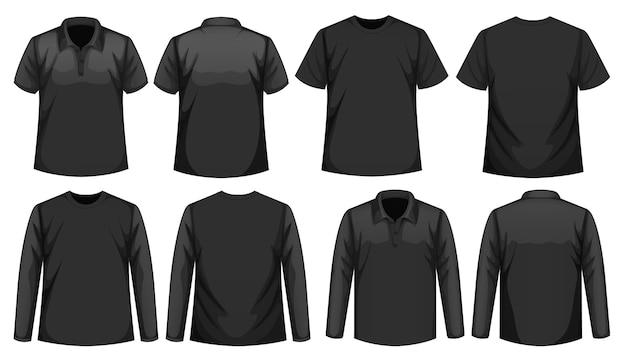 같은 색상의 다른 종류의 셔츠 세트 무료 벡터