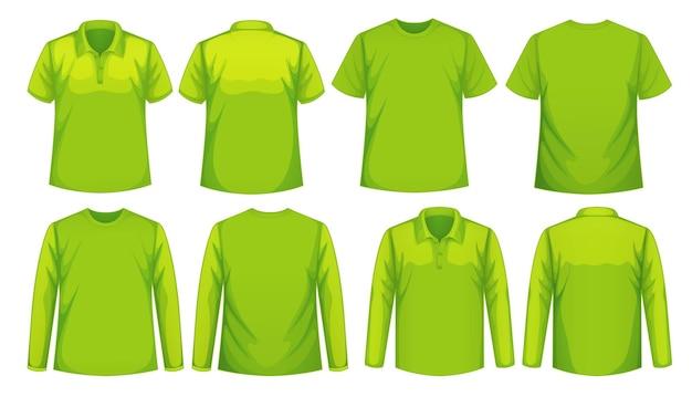 같은 색상의 다양한 종류의 셔츠 세트 프리미엄 벡터