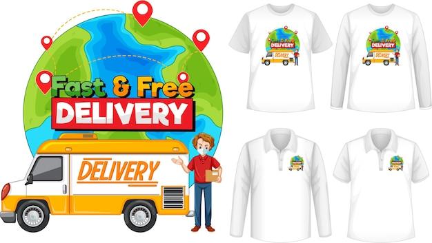 Набор различных типов рубашек с быстрой и бесплатной доставкой логотипа на рубашках Бесплатные векторы