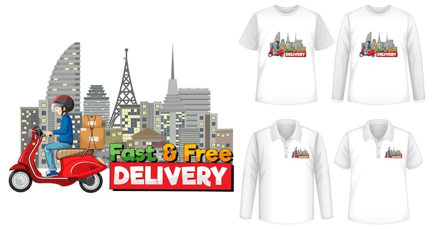 셔츠에 빠르고 무료 배송 로고 화면이있는 다양한 종류의 셔츠 세트 프리미엄 벡터