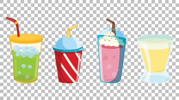 透明に分離されたさまざまな種類のソフトドリンクまたは甘い飲み物のセット 無料ベクター
