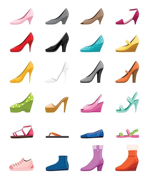 さまざまな種類の女性の靴のセット、側面図 Premiumベクター