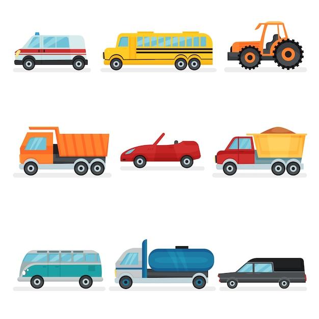 異なる都市交通のセット。公共、産業、サービスカー。乗用車 Premiumベクター