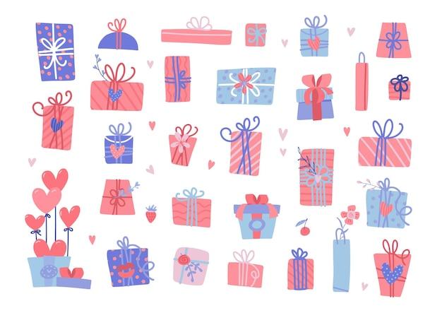 さまざまなバレンタインデーのプレゼントのセット。ハートで包まれたギフトボックスを分離します。 Premiumベクター