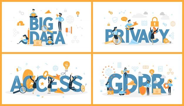 Набор слова цифровых данных с людьми вокруг. доступ и конфиденциальность, большие данные и ввп. концепция современных компьютерных технологий. иллюстрация Premium векторы