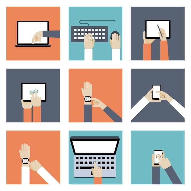 Набор иллюстрации цифровых устройств. Бесплатные векторы