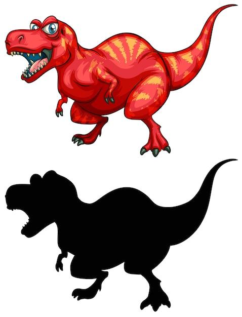 恐竜の漫画のキャラクターと白のシルエットのセット 無料ベクター