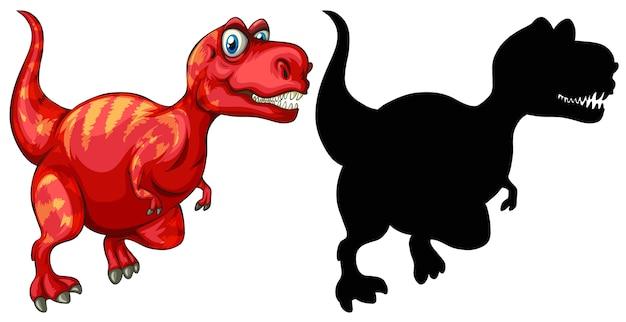 恐竜の漫画のキャラクターとそのシルエットのセット 無料ベクター