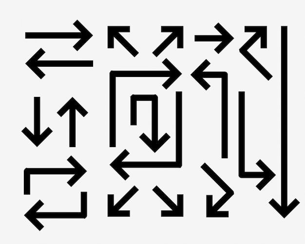 굵은 선 스타일의 방향 화살표 세트 무료 벡터