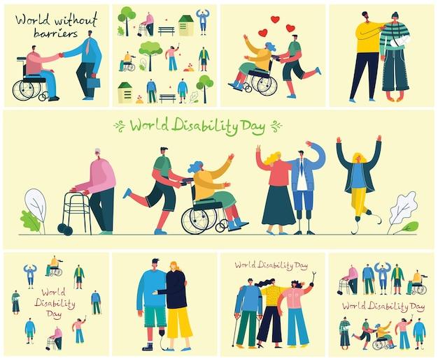 Множество инвалидов, мужчин и женщин, помогающих. мир без преград. плоские современные герои мультфильмов. Premium векторы