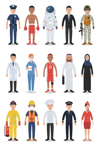 People Occupations Jobs And Community At: Set Of Diverse Occupation And Profession People Characters