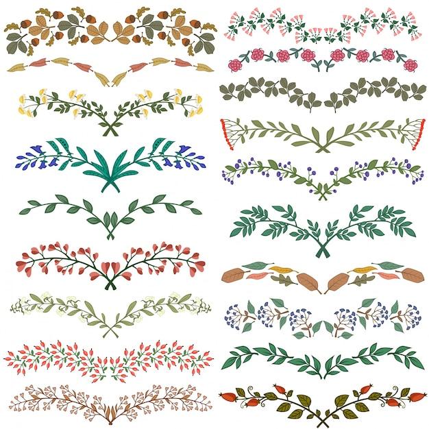 set of dividers in nature design vector free download