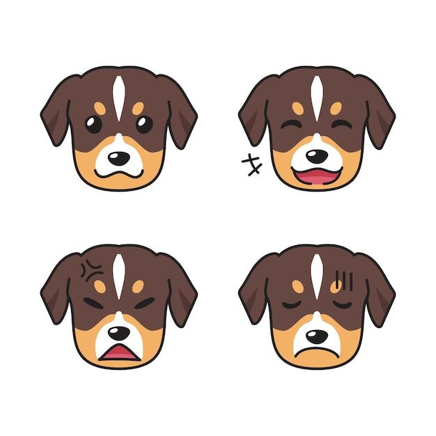 Набор мордочек собак, показывающих разные эмоции Premium векторы