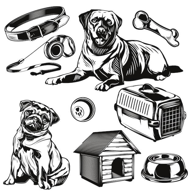 개 및 장난감 요소 집합 무료 벡터